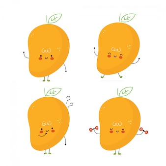 Cute happy mango fruit set. isolated on white . vector cartoon character illustration design,simple flat style. mango character bundle, collection concept