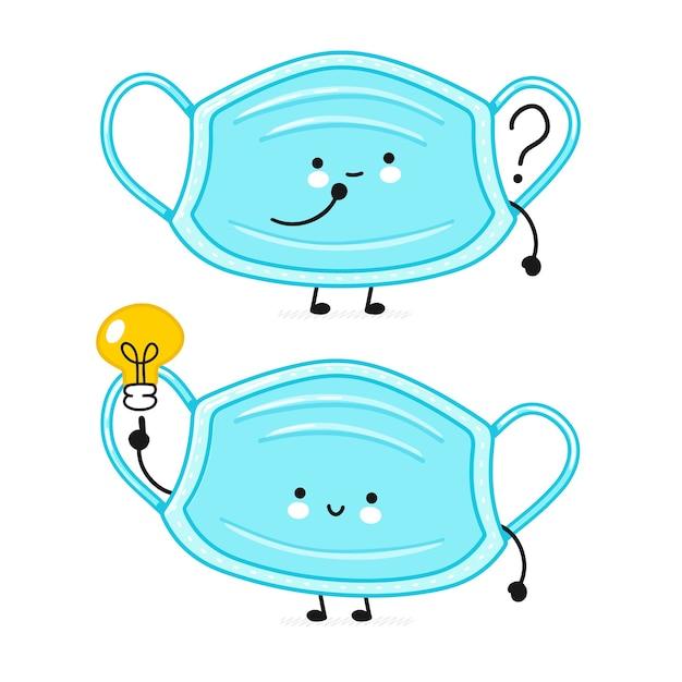 疑問符とアイデア電球のかわいい幸せな医療フェイスマスクのキャラクター