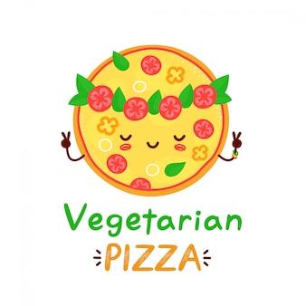 かわいい幸せな瞑想ベジタリアンピザ。漫画キャライラスト。