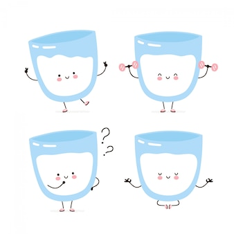 Cute happy milk  character set collection. isolated on white . vector cartoon character illustration design, simple flat style. milk glass walk,train,think,meditate concept