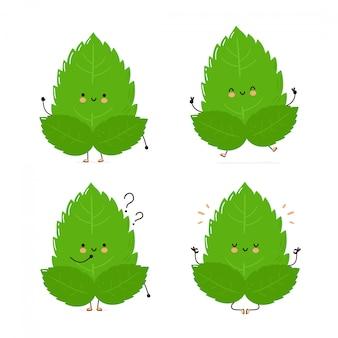 Симпатичные счастливые мяты листья набор символов коллекции.