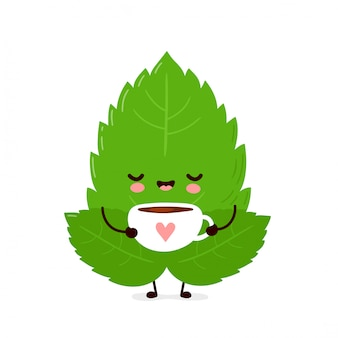 Cute happy mint leaf drink tea. isolated. vector cartoon character illustration
