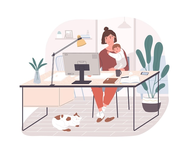 아기를 안고 책상에 앉아 집에서 컴퓨터 작업을 하는 귀여운 행복한 어머니