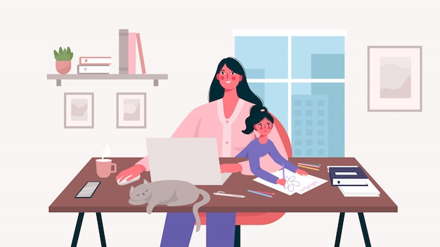 Cute happy mother sits with a baby and works at a laptop. home office. mother freelancer, remote work and raising a child at workplace. maternity and career. flat cartoon vector illustration.