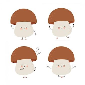 Симпатичные счастливый грибной набор символов. изолированные на белом. дизайн иллюстрации персонажа из мультфильма вектора, простой плоский стиль. грибная прогулка, тренируйся, думай, размышляй