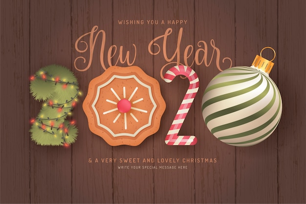 Cute happy new year background with 3d elements