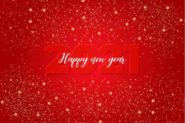 Cute happy new year card with red background with lights