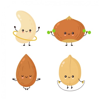 Cute happy nuts make fitness,yoga,gym set collection.  flat cartoon character illustration  . isolated on white background. peanut, hazelnut, cashew, almond characters