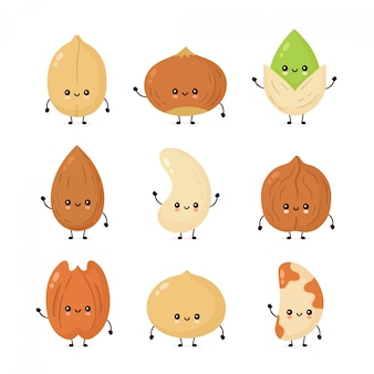 Симпатичные счастливые орехи набор коллекции. плоская иллюстрация персонажа из мультфильма. изолированные на белом фоне арахис, фундук, грецкий орех, бразильский орех, фисташка, кешью, орех пекан, миндаль