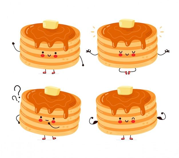 Cute happy pancakes characters set
