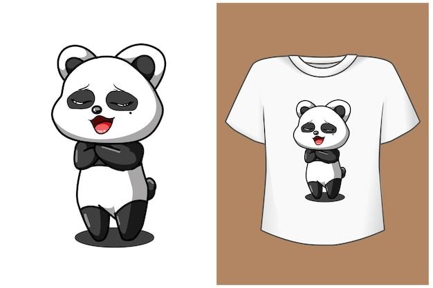 Cute and happy panda cartoon tshirt template