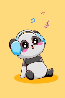 Cute and happy panda listening music icon cartoon illustration