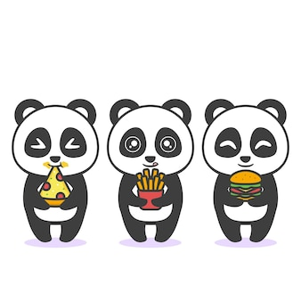 Cute happy panda with different expression and food
