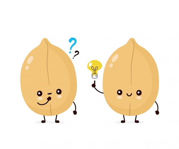 Милый счастливый арахис с вопросительным знаком и лампочкой. плоский мультипликационный персонаж иллюстрации значок изолированные на белом. орешки