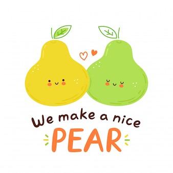 Симпатичные счастливые груши пара символов. любовь, романтическая открытка. изолированные на белом фоне мультипликационный персонаж рисованной иллюстрации стиль
