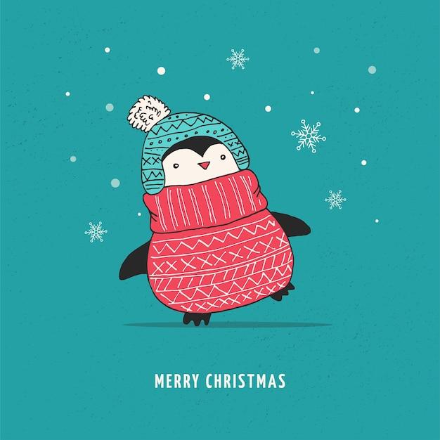 かわいい幸せなペンギン-メリークリスマスの挨拶