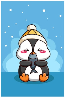Cute and happy penguin with fish cartoon illustration
