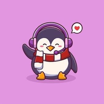 헤드폰 만화 아이콘 일러스트와 함께 귀여운 행복 펭귄 동물 자연 아이콘 개념 절연