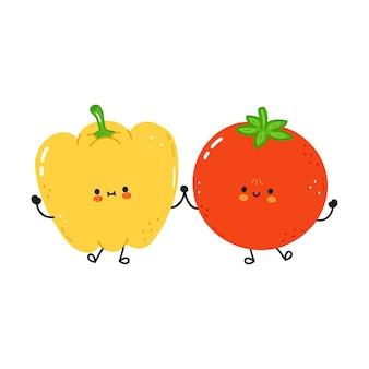 かわいいハッピーペッパーとトマト