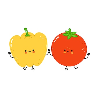 Cute happy pepper and tomato