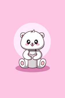 Cute and happy polar bear with milk animal cartoon illustration