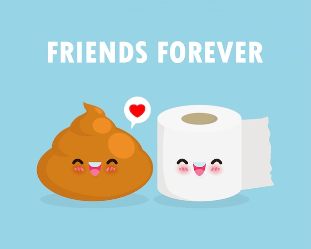Cute happy poop and toilet paper funny cartoon character. image smile cartoon chibi toilet paper and shit. best friends