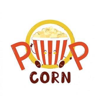 Cute happy popcorn bucket  isolated on white . vector cartoon character illustration card design,simple flat style.