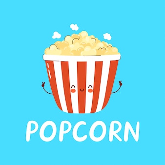 Симпатичный счастливый персонаж popcprn логотип. мультяшный персонаж рисованной стиль иллюстрации