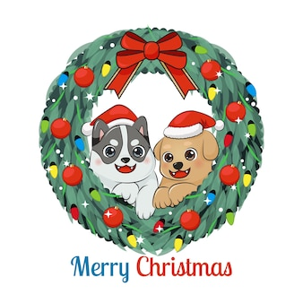 クリスマスリースのかわいい幸せな子犬。クリスマスの飾り