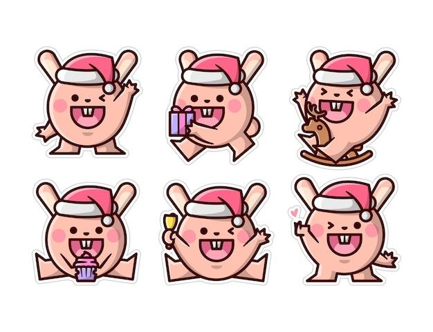 クリスマスの日のイラストコレクションでかわいい幸せなウサギ