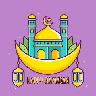 月のモスクとかわいい幸せなラマダンイラスト