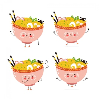 Cute happy ramen bowl character set collection. isolated on white . vector cartoon character illustration design, simple flat style. ramen walk,jump,think,meditate concept