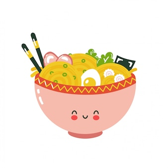 Cute happy ramen bowl