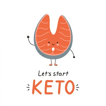 Симпатичные счастливый характер красной рыбы лосось. изолированные на белом. дизайн карточки иллюстрации персонажа из мультфильма вектора, простой плоский стиль. кето диета карта, концепция дизайна баннера