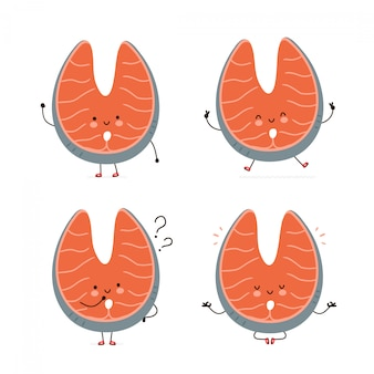 Cute happy red fish salmon character set collection. isolated on white . vector cartoon character illustration design, simple flat style. red fish salmon walk,jump,think,meditate concept