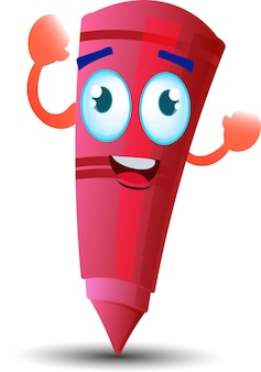 かわいい幸せな赤いワックスクレヨン漫画マスコットキャラクター