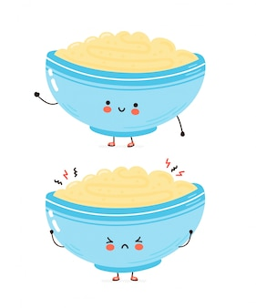 Cute happy and sad bowl of oatmeal porridge. cartoon character hand drawn style illustration. oat breakfast cup concept