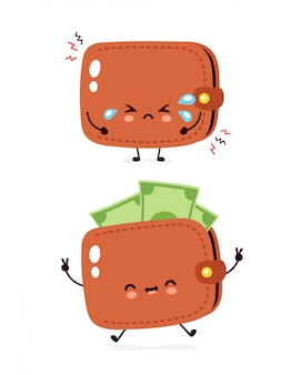 Cute happy and sad cry money banknote wallet