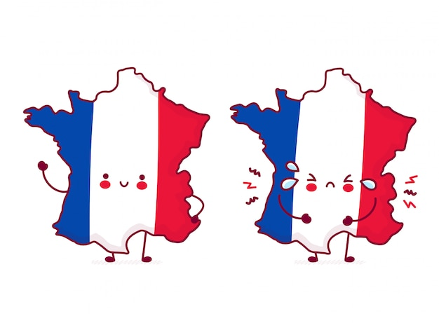 Cute happy and sad funny france map and flag character.