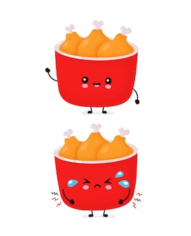 Cute happy and sad funny fried chicken bucket.   cartoon character illustration icon design.isolated