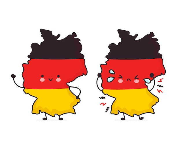 Cute happy and sad funny germany map and flag character