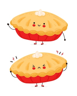 Cute happy and sad funny homemade pie. isolated on white background. cartoon character hand drawn style illustration
