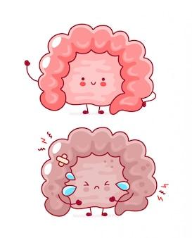 Cute happy and sad funny human intestine organ.