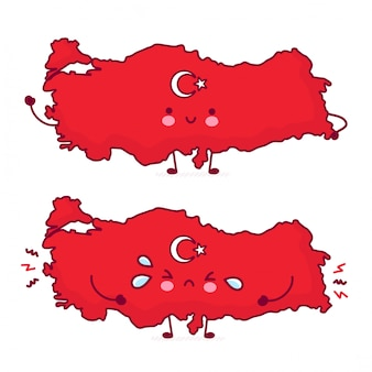 Cute happy and sad funny turkey map and flag character.