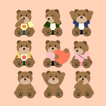 Cute happy sad hug love couple teddy bear wear clothes valentine present