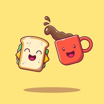 Милый счастливый сэндвич и горячий кофе