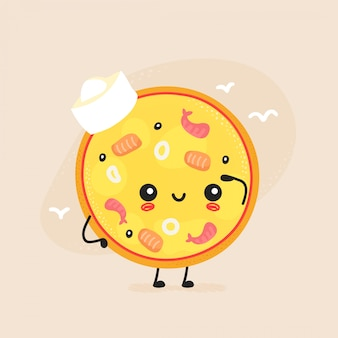 Cute happy seafood pizza character.