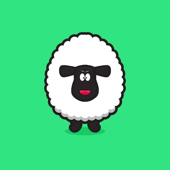 Cute happy sheep mascot character. design isolated on green background.