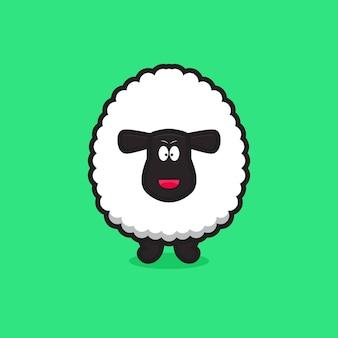 かわいい幸せな羊のマスコットキャラクター。緑の背景に分離されたデザイン。