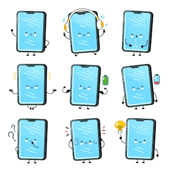 Cute happy smartphone, mobile phone character set collection. vector flat line cartoon kawaii character illustration icon. isolated. callphone, smartphone face character bundle
